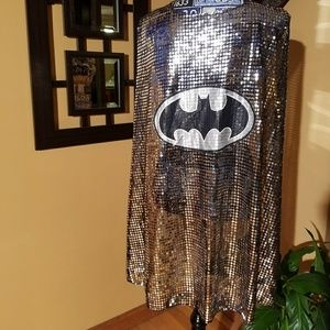 SILVER AND BLACK SEQUIN BATMAN CAPE